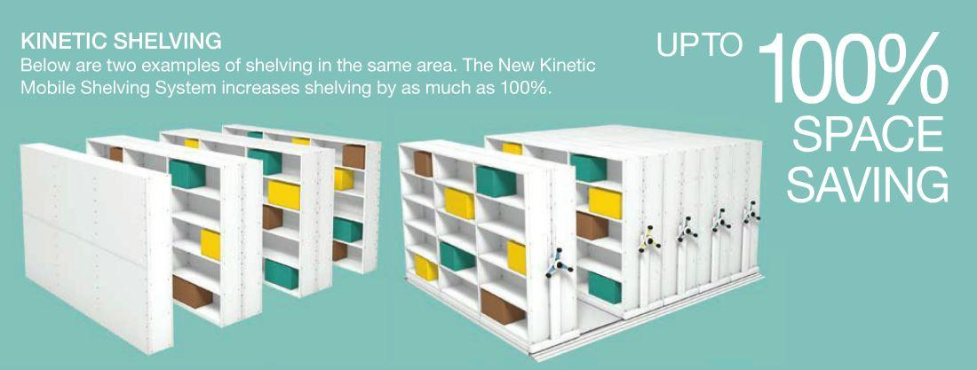 ESS Kinetic Shelving 100% Space Saving